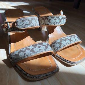 Vintage Coach sandals with kitten heel
